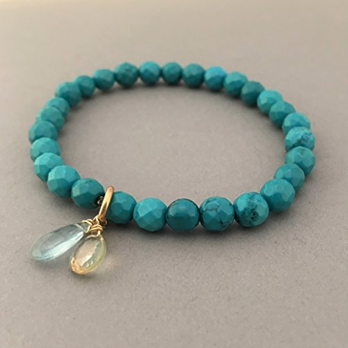 Aquamarine Silver Beaded Bracelets - Turquoise Beaded Bracelet with Citrine and Aquamarine in Gold, Rose Gold, or Sterling Silver