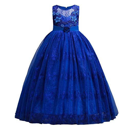 HUANQIUE Girl Floor Length Pageant Bridesmaid Dress Tulle Flower Girl Ball Gown RoyalBlue 4-5 T ()