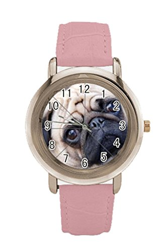 Bowl Pug Dog Custom Womens Rose Gold Leather Strap Watch