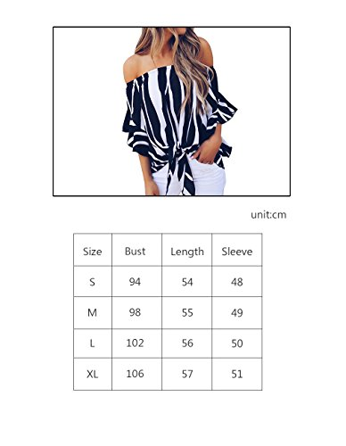 Womens Summer Sexy Off Shoulder Striped Short Sleeve T-Shirt Casual Knot Tie Chiffon Blouse Top (Black,M) by Defal (Image #6)'