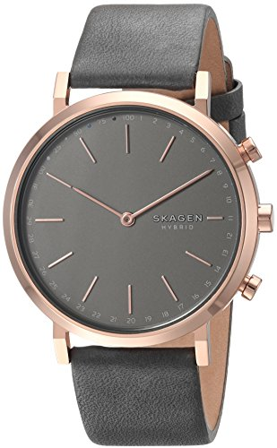 Hybrid Gray (Skagen Women's Hald Stainless Steel and Leather Hybrid Smartwatch, Color Rose Gold-Tone, Gray SKT1207)