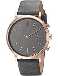 Women's Hald Stainless Steel and Leather Hybrid Smartwatch, Color Rose Gold-Tone, Gray SKT1207