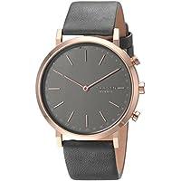 Skagen Women's Hald Stainless Steel and Leather Hybrid Smartwatch, Color: Rose Gold-Tone, Gray SKT1207