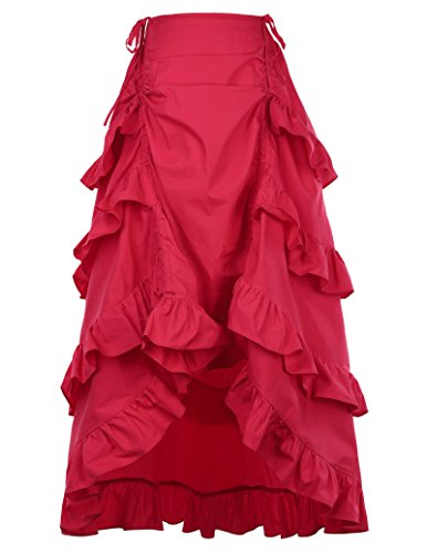 Steampunk Victorian Gothic Womens Costume Show Girl Skirt Red Size M]()