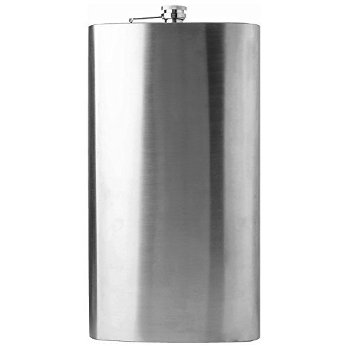 Maxam Jumbo Stainless Steel Flask, Extra Large Drinking Flask, Polished Silver, 1 Gallon Capacity