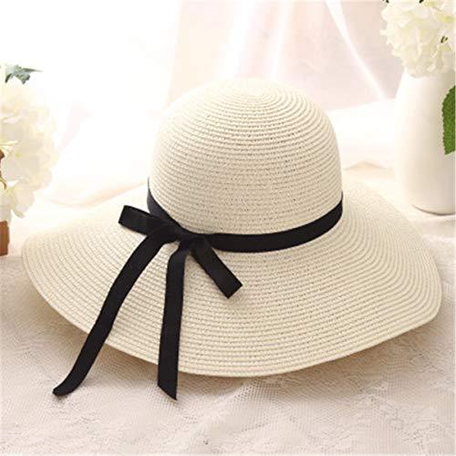Summer Straw hat Women Big Wide Brim Beach hat Sun hat Foldable Sun Block UV Protection Panama hat Bone chapeu Feminino (Beige) ()