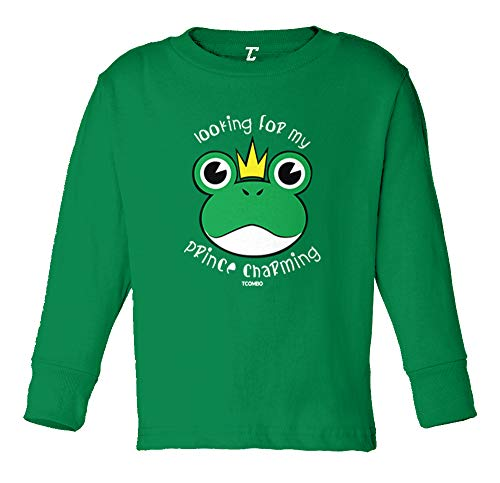 - Tcombo Looking for My Prince Charming - Frog Long Sleeve Toddler Cotton Jersey Shirt (Kelly, 5T/6T)