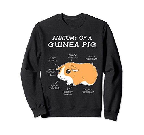 Pig Sweatshirt T-shirt - Unisex Anatomy Of A Guinea Pig Funny Chubby Pet Sweatshirt Medium Black