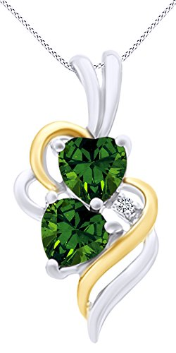 AFFY Simulated Emerald & White Cubic Zirconia Double Swirl Heart Two Tone Pendant Necklace in 14k White Gold Over Sterling Silver