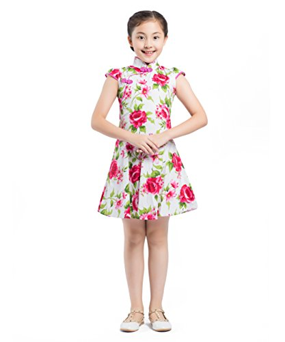 Akaayuko Cheongsam Dress in stile Green Qipao Floral Girls cinese Red qFTqgBw