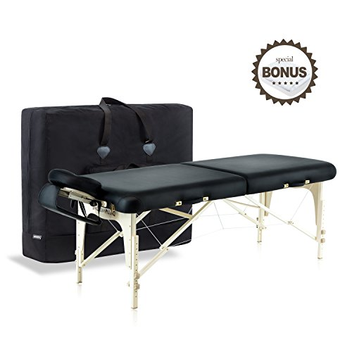 Dr.lomilomi Delux Maple Hardwood Portable Massage Table Spa Bed 101 Package (101, Black)