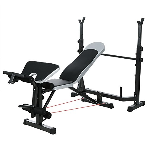 Multi-Functional Adjustable Height Olympic Weight Bench, Black Strength Training Bench Set with Preacher curl pad/Barbell/Resistance Band by Jingjing1