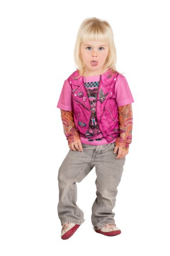Toddler Biker Girl Halloween Costume (Faux Real Toddler Girl's Toddler Pink Biker Girl with Tattoo Sleeves Childrens Costume, White,)