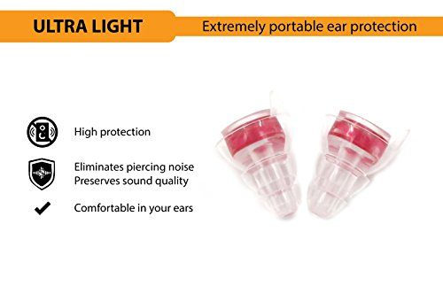 NU High Fidelity Ear Plugs for Musicians, Concerts, Motorcycles, Travel, Holiday and Live Events with Portable Aluminum Case (High Protection) by NU (Image #2)