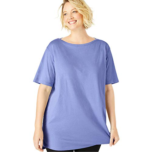 Woman Within Women's Plus Size Perfect Boat Neck Elbow-Lengh Sleeve Tunic - French Lilac, 1X