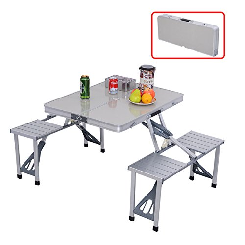 num Portable Folding Camping Picnic Table W/ 4 Seats (Glassware Carriers)