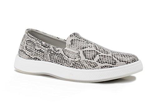 Aureus Womens Vina Python Patterned Low Top Slip-On Fashion Sneaker Beige Python 3LHqd5