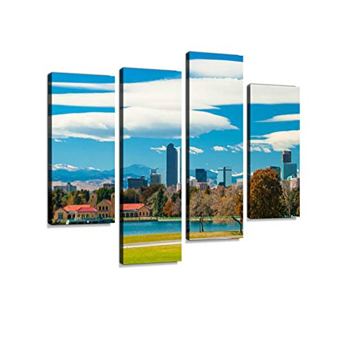 Denver Skyline, Clouds, Mountains, and City Park with a Lake Canvas Wall Art Hanging Paintings Modern Artwork Abstract Picture Prints Home Decoration Gift Unique Designed Framed 4 Panel