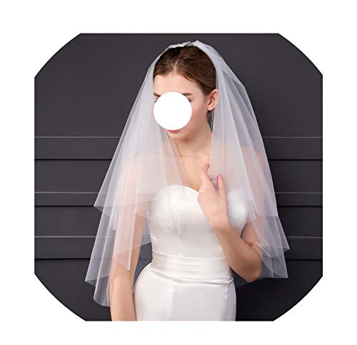 Simple Bridal Veils 2T Cut Edge Tulle Real Pictures Price Short Wedding - Aire Bridal Bel