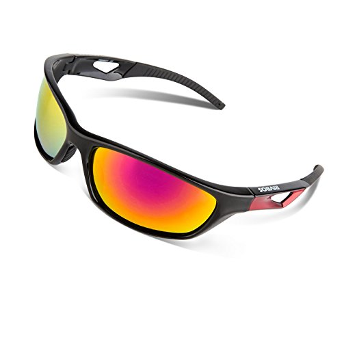 RIVBOS Polarized Sports Sunglasses Driving Sun Glasses for Men Women Tr 90 Unbreakable Frame for Cycling Baseball Running Rb831 (Black&Red Mirror Lens)
