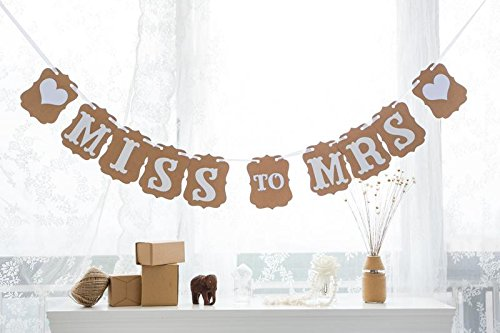 iMagitek MISS to MRS Bunting Banner for Wedding Photo Props,Bachelorette Party Decorations,Bridal Shower - Picture Perfect Bridal Shower Invitations