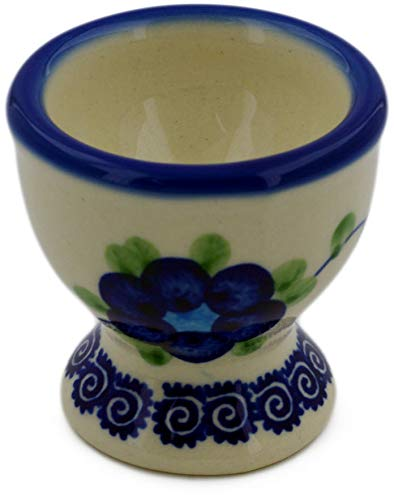 - Polish Pottery 2-inch Egg Holder (Blue Poppies Theme) + Certificate of Authenticity
