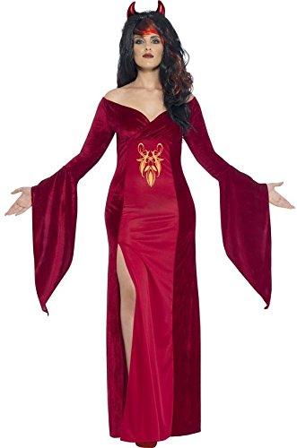 Ladies Plus Size Red Devil Demon Vampire Long Full Length Halloween Fancy Dress Costume Outfit UK 16-30 ((UK 24-26) ()