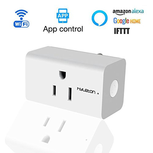 Wifi Smart Plug Compact Size Hyleton Wifi Smart Outlet Timer No Hub Required Timing Function-Remote Control Anywhere