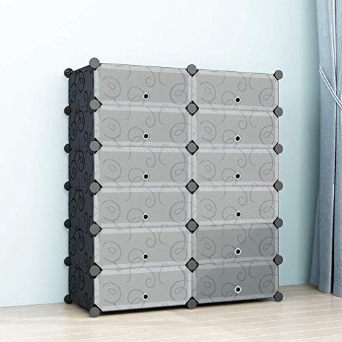 SIMPDIY Portable Shoe Rack Storage Organizer Shoe Box Storage System with Doors, Shoes,Accessories - Black (2x6 Cubes 93x37x108cm/37x15x43In)