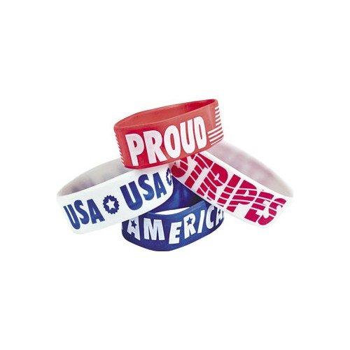 12 Patriotic Big Wrist Bands by Fun Express