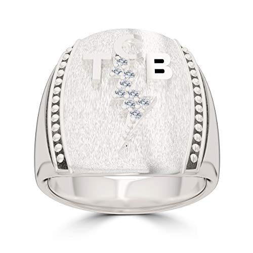 Elvis Diamond TCB Marquee Bolt Ring in Sterling Silver