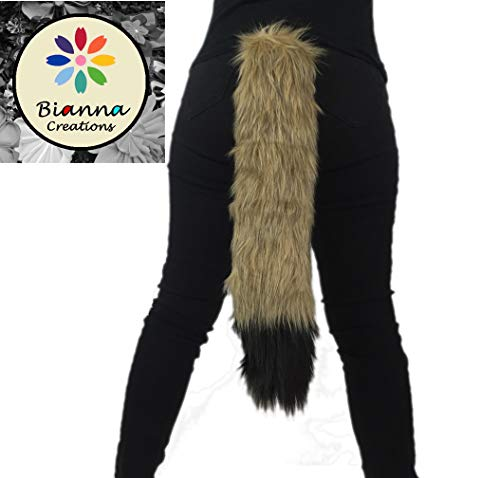 Coyote Golden Brown and Black Tail, Handmade Soft Faux Fur Animal Cosplay Tail, Anime Convention Rave Costume Gear, Halloween Furry -
