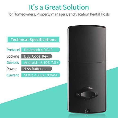 Electronic Deadbolt Smart Door Lock, LED Touch Screen Keypad, Bluetooth Smart Phone Enabled Keyless Access, Easy to Install, Oaks Smart Lock (Smart Lock) by OAKS LABS (Image #5)