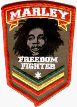 Bob Marley Fighter (Bob Marley - Freedom Fighter Logo - Embroidered Iron On or Sew On Patch)
