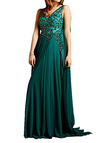 Charmant Steine Chiffon Dunkel A Abendkleider V Gruen Linie Festlichkleider Langes Damen Partykleider Ausschnitt Blau rXYRqrFw