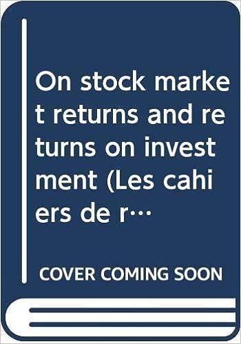 On stock market returns and returns on investment Documento de trabajo / Servicio de Estudios Banco de España: Amazon.es: Restoy, Fernando: Libros en idiomas extranjeros