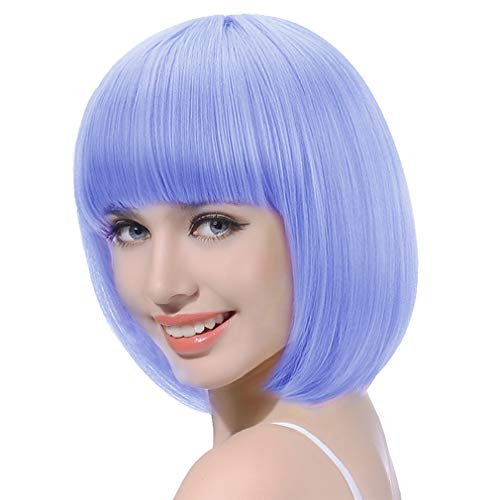 Light Blue Short Bob Wig with Bangs-13