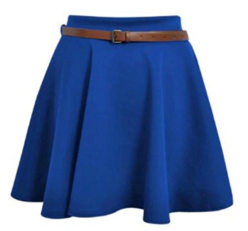 Pattinatrice Da Unita Con Royal Cintura Maglia Flippy Minigonna Campana Staccabile Donna Corto Tinta Vita A Blue Elasticizzato rrqxwRB7E