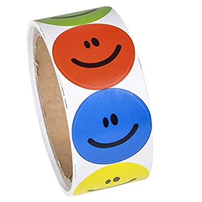 Rhode Island Novelty 097138709585, 1 Roll of 100 Smiley Face Stickers, Pmary Colors NIP (RN RSSMILE), Brown: Toys & Games