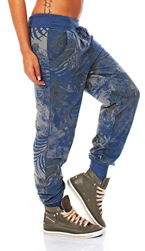 ZARMEXX Sweatpants Sweatpants Sweatpants pantalones de las mujeres Relax Fit Pant impresión de la selva jeansblu