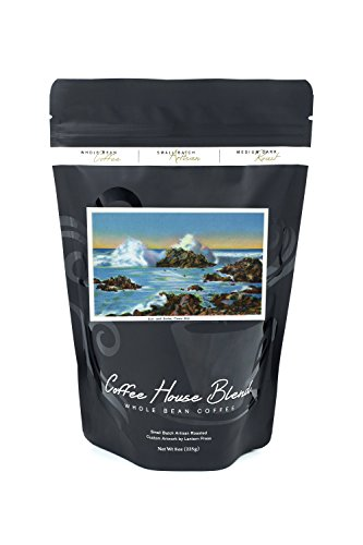 Bean Casco Bay - Casco Bay, Maine - View of Surf Along the Rocks (8oz Whole Bean Small Batch Artisan Coffee - Bold & Strong Medium Dark Roast w/Artwork)
