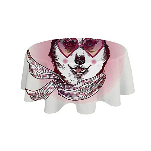 - YOLIYANA Cartoon Decor Waterproof Round Tablecloth,Hipster Husky Dog with Heart Shaped Sunglasses and Scarf Fashion Animal Art Print for Living Room,19.6