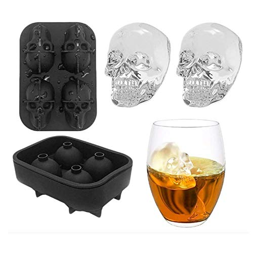 Ice Cube Tray Mould, 3D Silicone Skull Shape Ice Cube Trays Mold Mould Cocktails Whisky Halloween Silicone Trays Chocolate Mold
