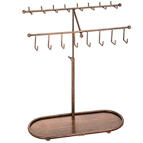 (MyGift Bronze-Tone 2-Tier Adjustable-Height Necklace & Bracelet Stand with Ring Tray)