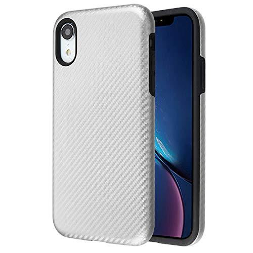 Prime Guardz Pro Carbon iPhone XR Case Durable Rugged [Dual Layer Protection] Hybrid Shock Absorption Slim Fit [Carbon Fiber Design] for Apple iPhone XR (2018) - - Fiber Silver Design Carbon