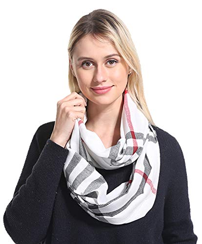 Women Lightweight Plaid Infinity Scarf - White Soft Light Thin Spring Summer 2019 New Design Fashion Buffalo Printed Loop Scarfs Ideal Gift ()