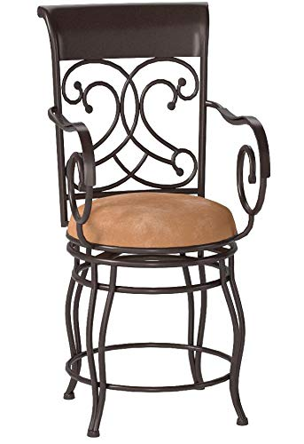 24 Metal Counter Stool with Upholstered Seat Beige and Bronze