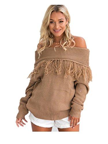 Sweater Strapless (Spendness Winter sexy Strapless long sleeved tassel sweater (M(4-10), Light coffee))