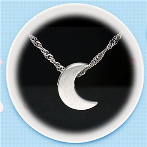 usongs Silver silver wire element 925 necklace pendant moon clavicle chain necklace pendant men and women girls couple lettering