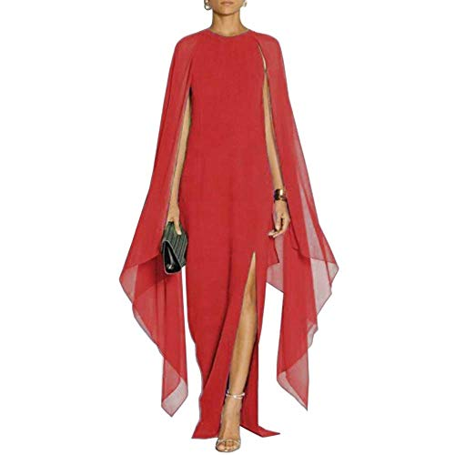 Red Cruise Formal - SEBOWEL Women's Elegant High Split Crepe Flared Sleeve Formal Evening Long Maxi Dresses Red XXL